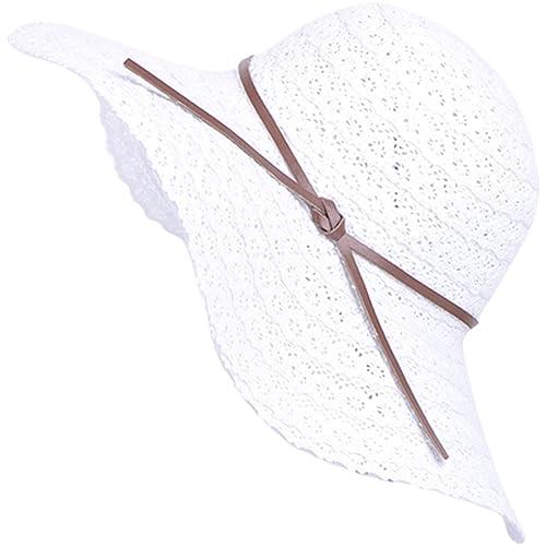 a2703b56fb6 Lanzom Women Wide Brim Summer Beach Sun Hats Foldable Floppy Travel  Packable UV Hat