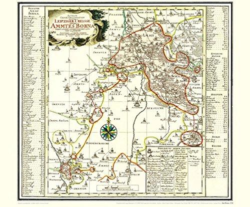 Historische Karte: Amt BORNA, 1758 [Plano]: KURFÜRSTENTUM SACHSEN |LEIPZIGER KREIS