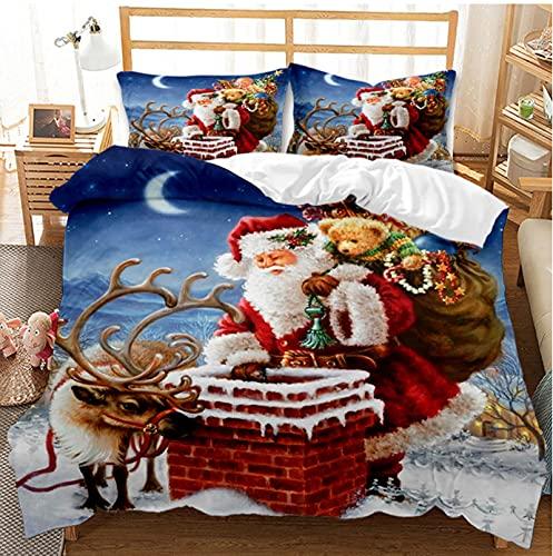 XIANGY Juego de ropa de cama con temática navideña, color rojo, Papá Noel, trineo y renos, árbol de Navidad, copos de nieve, regalo para Navidad, cama individual y King (200 x 200 cm, A6)