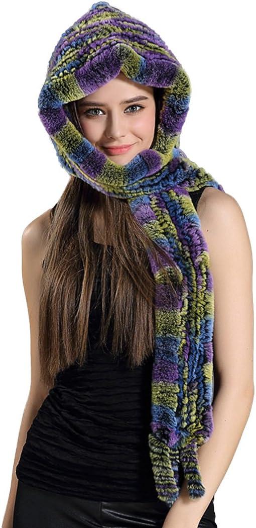Befur Natural Fluffy Fur Hood Scarf with Tassel in Multicolor