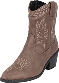 Cambridge Select Women's Pointed Toe Western Stitched Chunky Stacked Heel Cowboy Boot