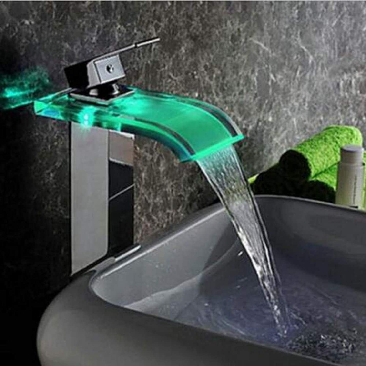 Floungey Kitchen Sink Taps Bathroom Sink Taps Modern Led color Changing Glass Waterfall Spout Bathroom Basin Faucet Vanity Mixer Tap Chrome