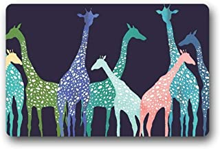 ZMvise Rubber Doormat Giraffe Outdoor Indoor Flannel Backed Non-Slip Entrance Mat Carpet 18 x 30 inch