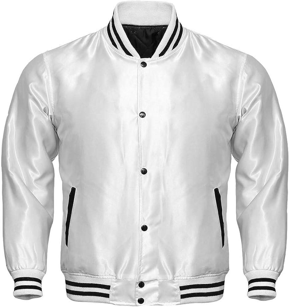 Varsity Letterman Baseball Bomber Vintage Retro All Poly Satin Jacket