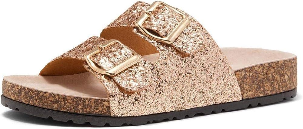 HerStyle Softey Women's Comfort Buckled Slip on Sandal Casual Cork Platform Sandal Flat Open Toe Slide Shoe
