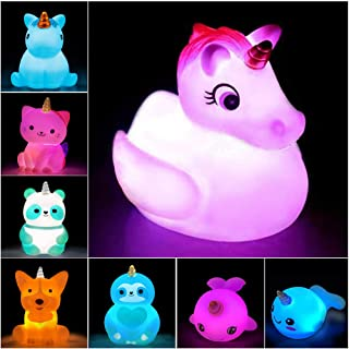 Jomyfant Unicorn Bath Toys Light Up Floating Rubber Toys(8 Packs),Flashing Color Changing Light in Water,Baby Infants Kids...