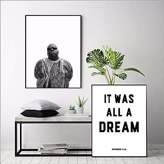 qiumeixia1 Biggie Smalls Rap Lyrics Canvas Art Print Wall Poster, The Notorious Big Art Decor Canvas Painting Wall Picture Home Decoration 5070Cm No Frame