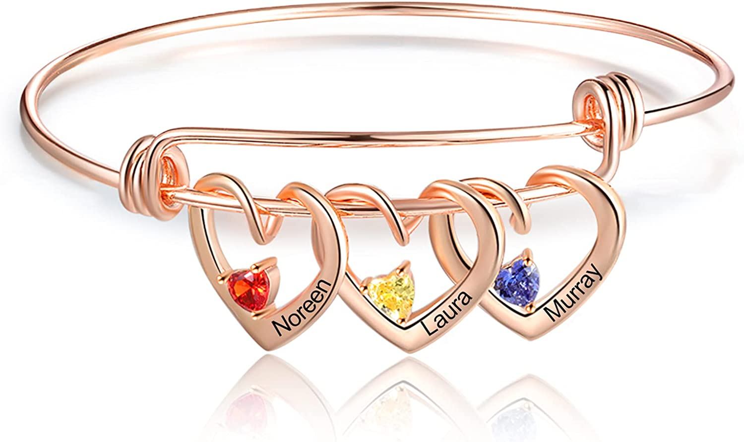 Personalized Love Bracelet Bangle for Women with Simulated Birthstone Heart Charm Name Engraved Adjustable Bangle Bracelets