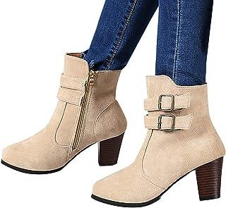 BIBOKAOKE Enkellaarsjes voor dames, retro, hoge hakken met ritssluiting, gespriem, Romeinse sandalen, blokhak, korte schac...