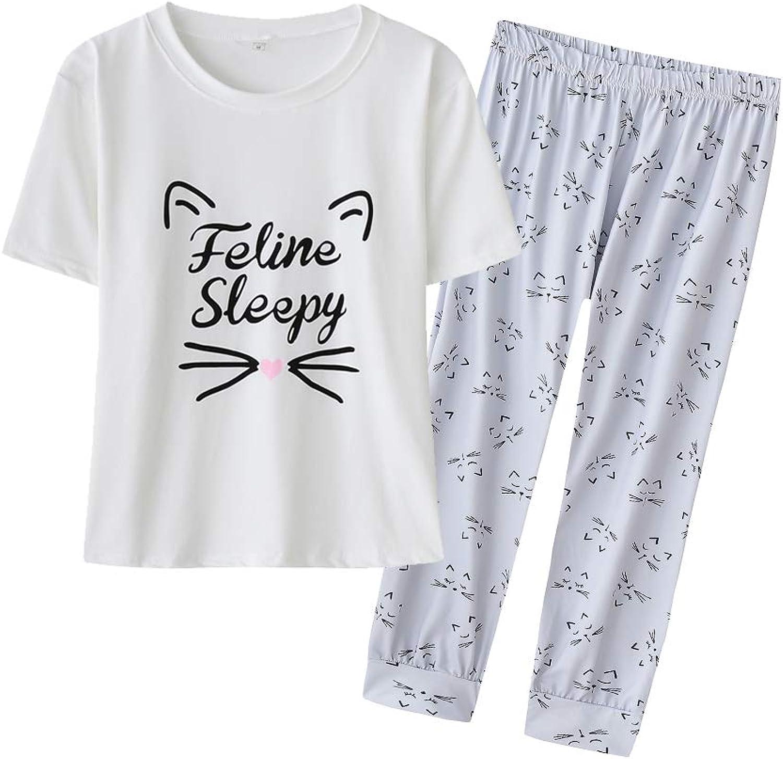 YIJIU Women's Sleepy Cat Print Pajama Set Short Sleeve Tee and Pants Sleepwear