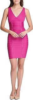 Womens Bandage Dress Fuschia Sleeveless V-Neck Pink 0
