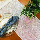 Iridescent White Sequin Table Runner-14' x 108' Sequin Tablecloth Wholesale Sequin Table Cloths Sequin Linens (Iridescent White)