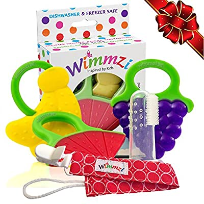 Teething Toys Set of 5 for Baby Infant & Toddler by Wimmzi | BPA-Free Freezer Safe Silicone Fruit Teethers + Pacifier / Teether Clip Holder + Finger Toothbrush Massager | Best Relief for Sore Gums