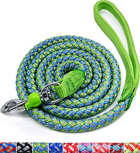 Mycicy Mountain Climbing Rope Dog Leash, 6 Foot Reflective Nylon Braided Heavy Duty Dog Training Leash for Large and Medium Dogs Walking Leads (Green)