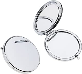 Blesiya 2Pieces Travel Compact Makeup Mirror Premium Double Folding Cosmetic Mirrors - Silver, as described