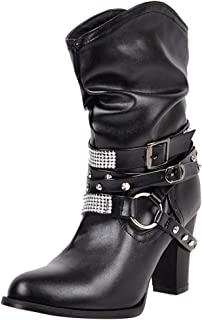 RAZAMAZAWomen Classic Cowboy Boots Cone Heels Slouch Boots