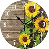 chazuohuaile Co.,ltd Reloj De Pared Mnsruu Wall Clock Round Sunflowers On Wooden Board Silent Non Ticking Battery Operated Easy To Read Clock For Indoor Decor Living RoomBedroom