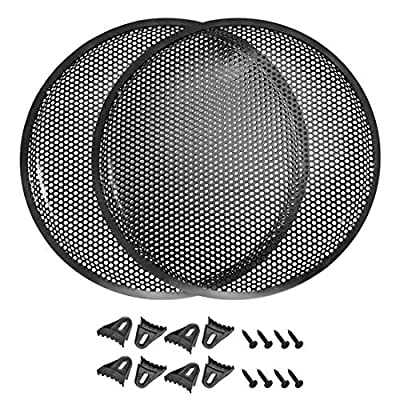 """sourcing map 2pcs 15"""" Speaker Waffle Grill Metal Mesh Audio Subwoofer Guard Protector Cover with Clips,Screws from sourcing map"""