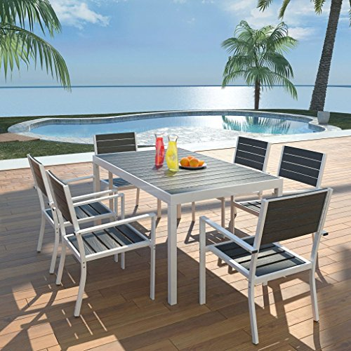 binzhoueushopping Mobilier d'extérieur 7 pcs Dimensions de la Table 150 x 90 x 74 cm (L x L x H) en Aluminium WPC Robustes et durables Assemblage Facile Noir