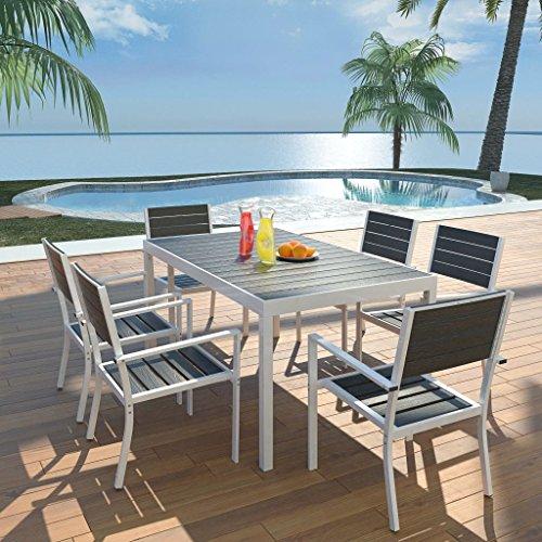 Lechnical Set Comedor jardín 7 pzas Comedor Exterior Conjunto de jardín terraza Muebles de jardín Comedor Juego Conjunto de Sillas Aluminio y Superficie Mesa WPC Negro