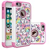 iPhone 5S Case, iPhone 5 Bling Case, Rainbow Unicorn Pattern Heavy Duty Shockproof Studded Rhinestone Crystal Bling Hybrid Case Silicone Protective Armor for Apple iPhone 5s iPhone 5