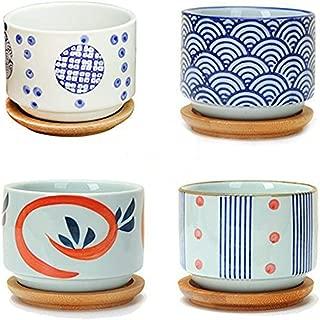 Flowerpot+Wooden Pot Tray Japanese Style Wave Pattern Ceramic Garden Pots Succulent Planter Blue White Flower Po (4pack)