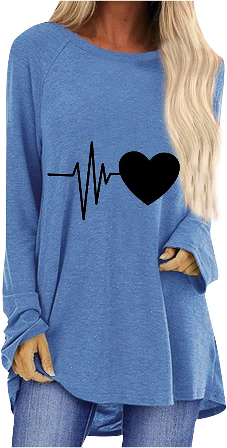 Long-Sleeved T-Shirt, Women's Sports Casual Sweater Heart-Shaped Tops Solid Color Crew Neck Sweater Loose Fit Blouses