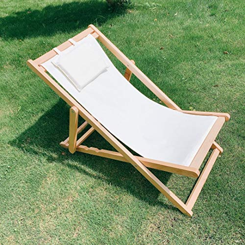 Adjustable Sling Chair Natural Frame, Natural Canvas Outdoor Wood and Canvas Sling Chair