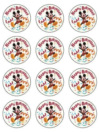"""Twelve 2"""" Mickey Mouse Clubhouse Streamers Edible Cupcake Images Toppers Decorations by Deco"""