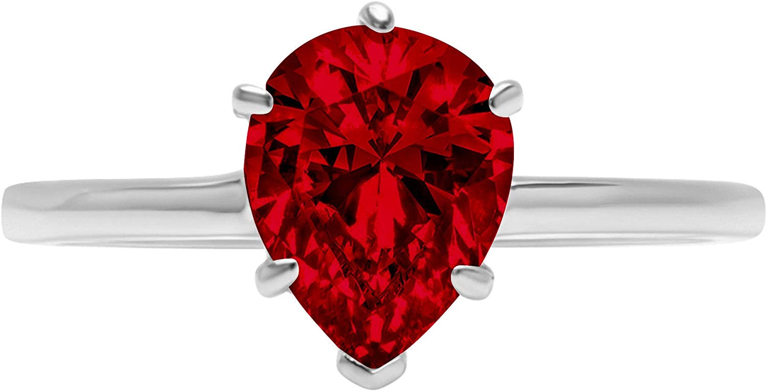 1.9ct Brilliant Pear Cut Solitaire Natural Crimson Deep Red Garnet Ideal VVS1 6-Prong Engagement Wedding Bridal Promise Anniversary Ring Solid 14k White Gold for Women
