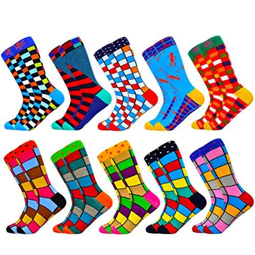 HIWEAR Vestido para hombre Colorido Diseño divertido Comodidad peinada Algodón Crew Pack de calcetines (Fashion-mix6)