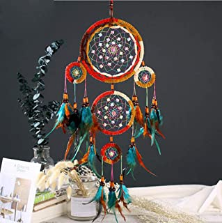 Carmen Large Handmade Dream Catcher Wall Hanging Colorful Feathers Ornament Indian Tradition Dreamcatcher for Home Bedroom Nursery Dorm Decor