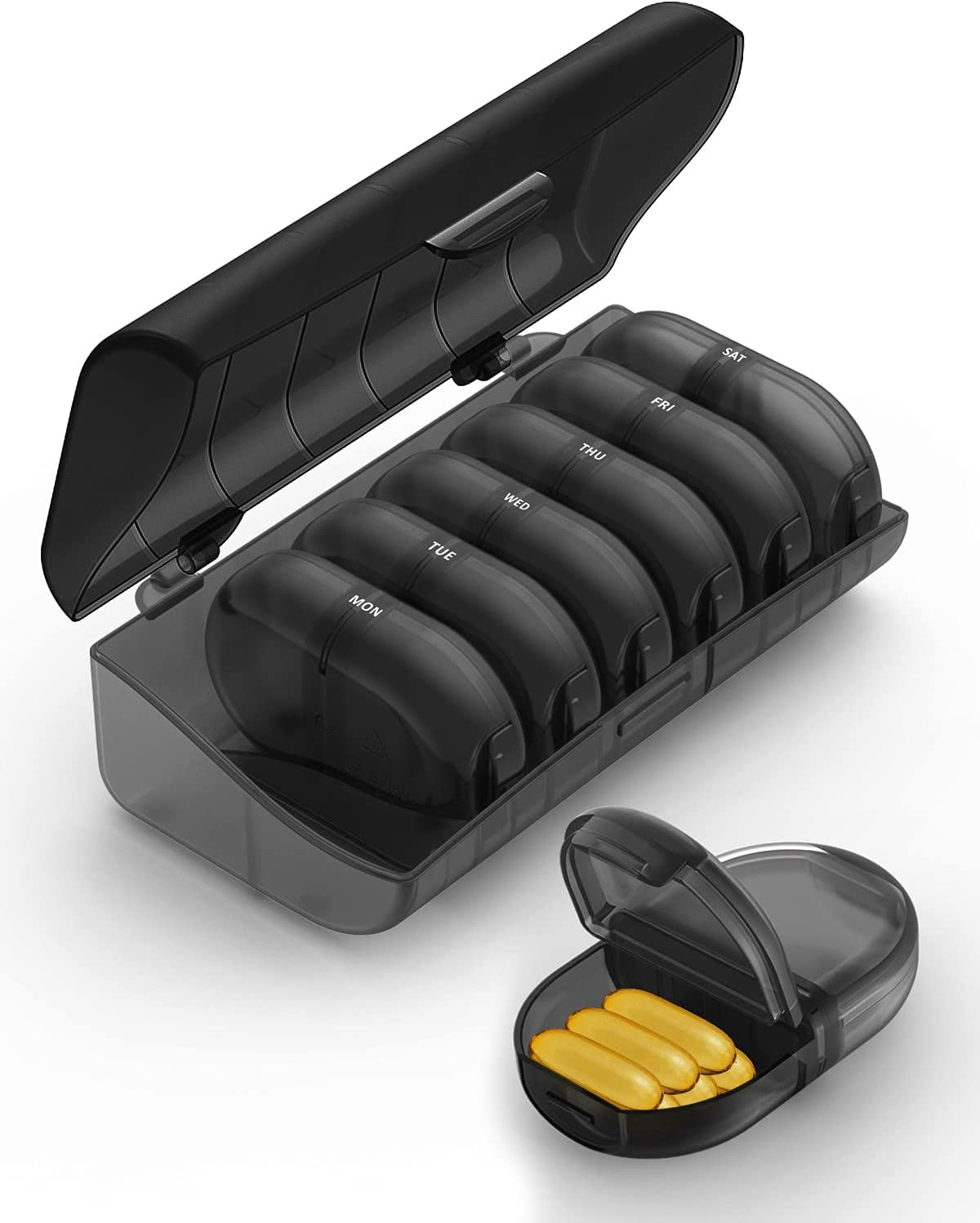 Fullicon Pill Organizer 2 Times a Day, Weekly Pill Box AM PM Daily Pill Cases Medicine Box - (Black)