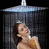 Rozin LED 12 inch <span class='highlight'>Chrome</span> Square Shower Head Ultra-Thin Ceiling <span class='highlight'>Mount</span>ed Bathroom Shower Head 304 Stainless Steel 3 Colors Changing