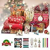 10 fogli di carta da regalo di Natale, 70 x 50 cm, con 6 biglietti da appendere, 15 m, 12 adesivi e 3 fiocchi da tirare per compleanno, Natale, confezione regalo fai da te e altre occasioni