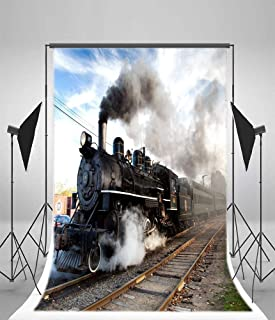 6x9ft Old Fashioned Steam Locomotive Photo Backdrop Vinyl Vintage Classic Railway Engine Retro Train Photography Background for Adults Baby Portraits Party Decoration Booth Studio Props