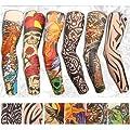 Yariew 6pcs Temporary Tattoo Sleeves, 6pcs Set Arts Temporary Fake Slip On Tattoo Arm Sleeves Kit, Color 2