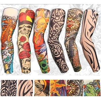 Yariew 6pcs Temporary Tattoo Sleeves 6pcs Set Arts Temporary Fake Slip On Tattoo Arm Sleeves Kit Color 2