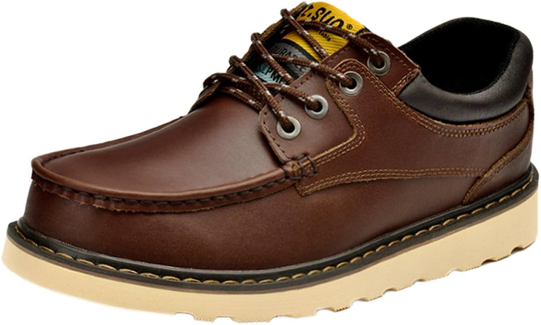 Insun Men's Cowhide Leather Rubble Sole Work shoes