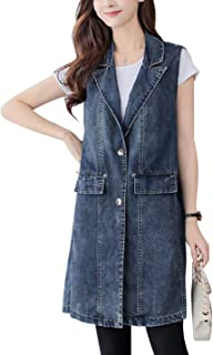 Omoone Women's Button Up Mid Long Ripped Denim Jean Vest Waistcoat