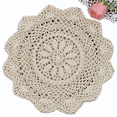 Creative Linens 6PCS 12' Round Crochet Lace Doily Beige 100% Cotton Handmade, Set of 6 Pieces