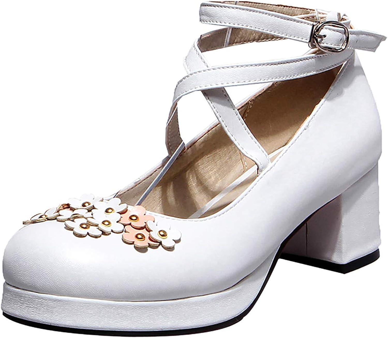 Artfaerie Womens Flower Mary Janes Rockabilly Bock Heel Platform Lolita Pumps Cross Strap Dress Cosplay shoes