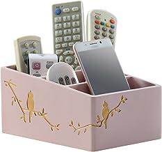 LWT デスクトップストレージボックスオーガナイザークリエイティブリビングルームリモコン化粧品多機能ストレージラック(21 * 14.10cm)ピンク