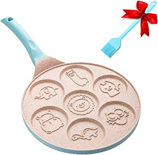 Hxytech Pancake Mold Non-Stick Pan with 7-Cup Animal Blini Pancake Maker - 10 Inch Pancake Griddle Breakfast Frying for Kids Gifts Cake