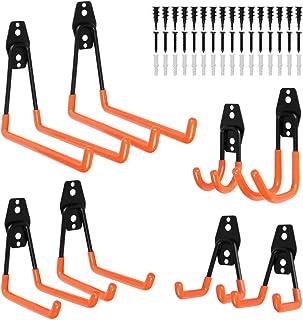 Garage Hooks Steel Utility Double Hooks Heavy Duty Garage Storage Hooks Hangers U Hooks Garage Tool Storage Organizer for Organizing Power Tools, Ladders, Bulk items, Bikes, Ropes,8packs