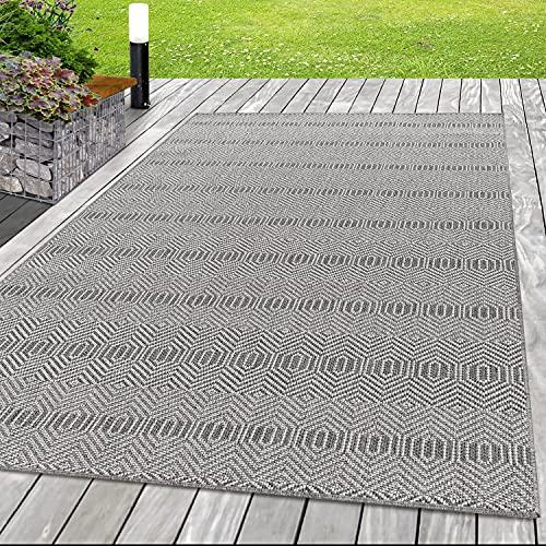 Indoor Outdoor Teppich Balkon Teppich Wasserfest Bordüre, Höhe 7 mm Oeko-Tex zertifiziert, Teppiche für Küchen, Flur, Wintergärten, Terrasse oder auf dem Balkon, Größe:80 x 150 cm, Farbe:Grau