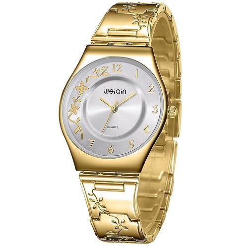 c79ba6abc21 WEIQIN Women Watches Luxury Silver Stainless Steel 7mm Ultra Slim Quartz  Wristwatch (Gold White)