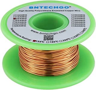 """BNTECHGO 20 AWG Magnet Wire - Enameled Copper Wire - Enameled Magnet Winding Wire - 4 oz - 0.0315"""" Diameter 1 Spool Coil N..."""