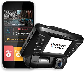 Rexing V2 Front + Back Dual Camera 1080p Full HD Wi-Fi Ultra Wide Angle LCD Screen Car, Lyft, Taxi Dash Cam