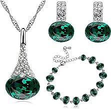 Argent/é brillant et blanc boules de cristal Ensemble de bijoux Boucles doreille /à tige et collier S726